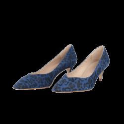Zapatos de mujer azules tacón leopardo