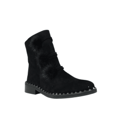 Botines piel mujer outlet negros con pompones