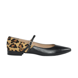 Zapatos de mujer planos piel negra con leopardo