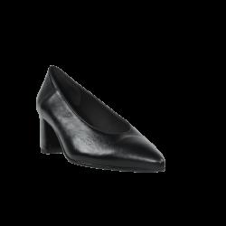Zapatos de mujer salones negros piel tacón cuadrado
